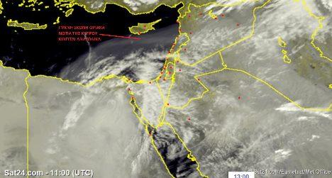 Χαμηλό βαρομετρικό προερχόμενο από τη Λιβύη μεταφέρει πολύ πυκνή σκόνη και περνά οριακά νότια της Κύπρου.