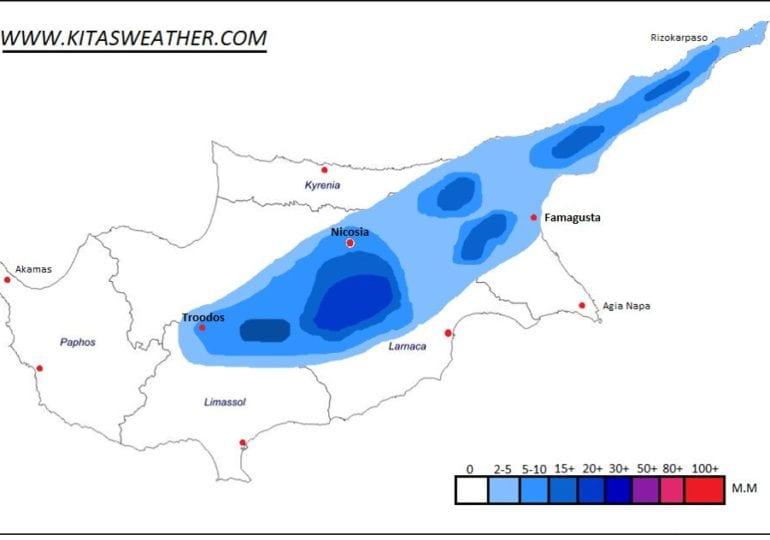 Οι περιοχές με αυξημένη πιθανότητα καταιγίδας (Χάρτης)