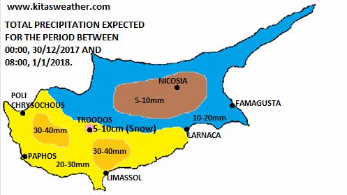 Χάρτης αναμενόμενης βροχόπτωσης για το τριήμερο