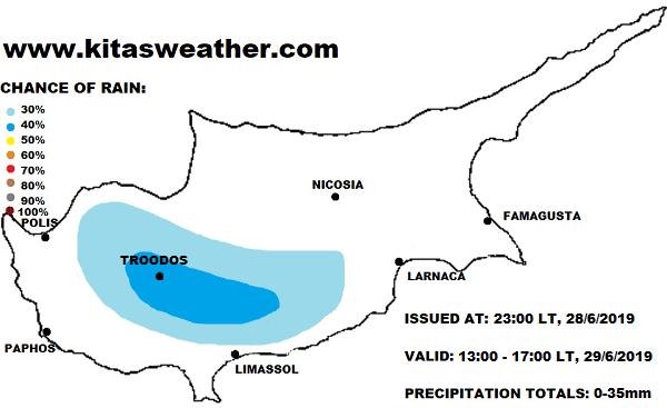 Πτώση θερμοκρασίας και αύξηση υγρασίας - Πιθανότητα για μεμονωμένες βροχές αύριο