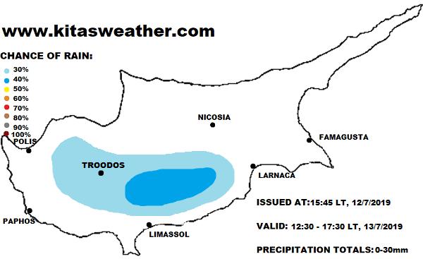 Πιθανότητα τοπικών βροχών αύριο και περαιτέρω μικρή πτώση της θερμοκρασίας