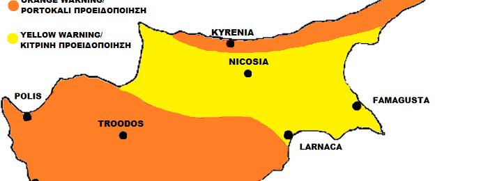 Πορτοκαλί και κίτρινη προειδοποίηση από Kitasweather για μεγάλα ύψη βροχής, χιόνι και ομίχλη