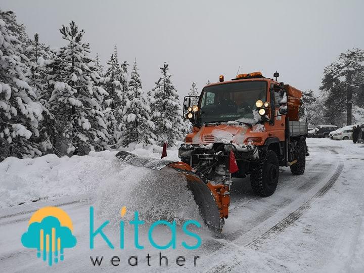 Κατάσταση οδικού δικτύου στο Τρόοδος και ύψος χιονιού - Ενημέρωση (09:30)
