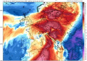 Νέα πιο ψυχρή αέρια μάζα θα επηρεάσει πρόσκαιρα την περιοχή μας από τα βόρεια την Παρασκευή