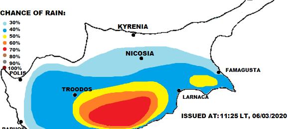 Τοπικά ισχυρές καταιγίδες με χαλάζι το απόγευμα (Χάρτης)