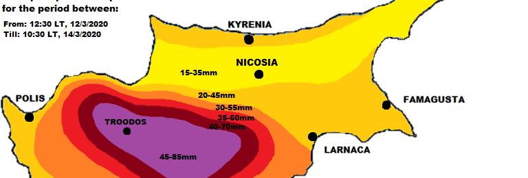 Χάρτης συνολικού υετού μέχρι το Σάββατο - Εκτίμηση βροχόπτωσης