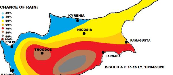 Τοπικά ισχυρές καταιγίδες σήμερα - Κίτρινη προειδοποίηση σε ισχύ (Ανανεωμένος χάρτης)