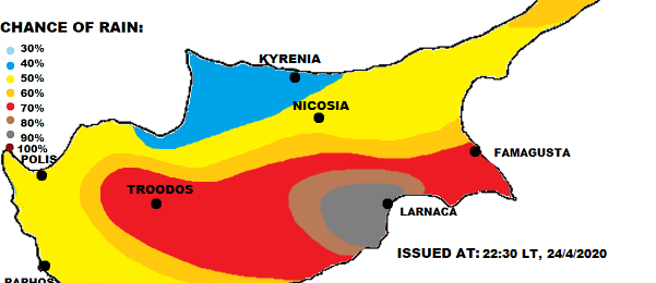 Τοπικά ισχυρές καταιγίδες με χαλάζι αύριο Σάββατο (Χάρτης)