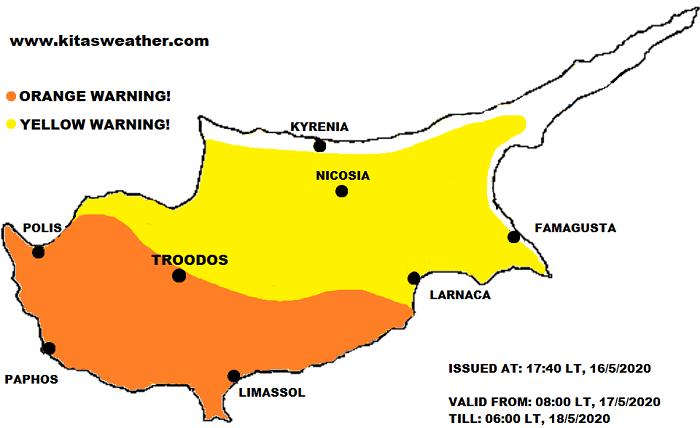 Πορτοκαλί και κίτρινη προειδοποίηση υψηλών θερμοκρασιών για αύριο Κυριακή από Kitasweather