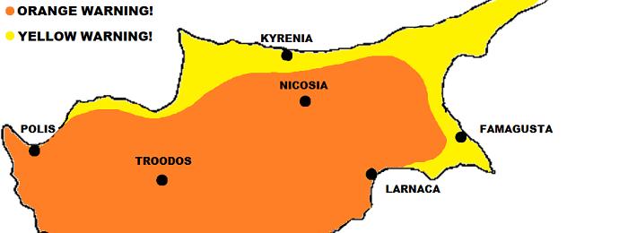Νέα πορτοκαλί/κίτρινη προειδοποίηση υψηλών θερμοκρασιών από Kitasweather για αύριο Δευτέρα