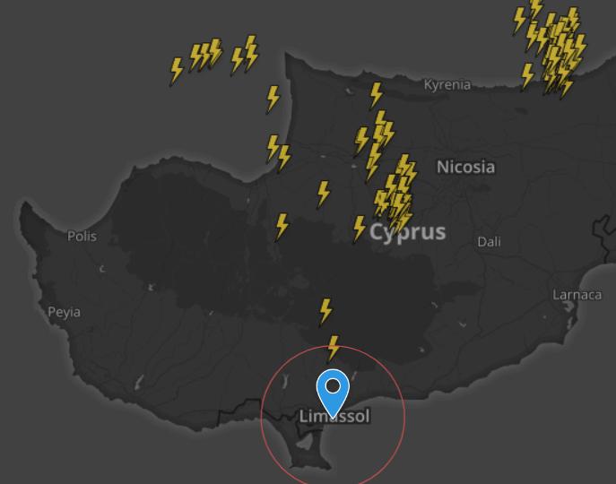 Ισχυρές καταιγίδες προσεγγίζουν την Λευκωσία - Καιρική ενημέρωση 12:00