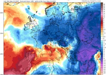 Πιθανότητα μεμονωμένων βροχών - Ισχυρό βόρειο ρεύμα αέρα φέρνει θερμοκρασίες κάτω της κανονικής