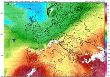 Θερμοκρασίες άνω των 40 βαθμών Κελσίου - Ταυτόχρονη πιθανότητα μεμονωμένης βροχής/καταιγίδας