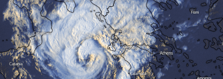 """Ενισχύεται ο μεσογειακός κυκλώνας """"Ιανός"""" - Άρχισε να επηρεάζει τις ελληνικές ακτές (Bίντεο)"""