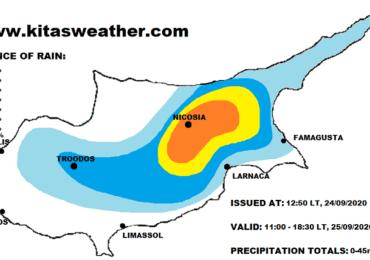 Χάρτης πιθανοτήτων βροχής για την Παρασκευή (25/9)