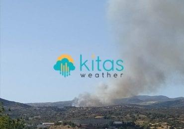 Πυρκαγιά σε εξέλιξη βόρεια του φράγματος του Κούρη στην Άλασσα - Πνέουν ισχυροί άνεμοι στην περιοχή