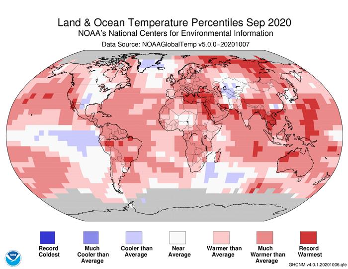 Ο Σεπτέμβριος του 2020 ήταν ο θερμότερος Σεπτέμβριος του πλανήτη από το 1880